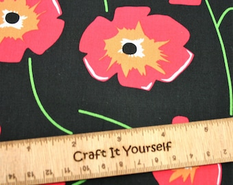 Poppy floral 100% cotton fabric 44 inch / 110cm black