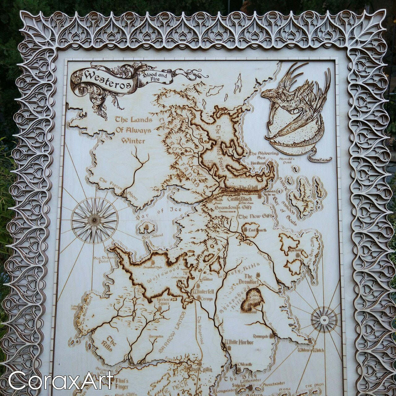 Game Of Thrones Mapwesteros Mapseven Kingdoms Mapice And Firewooden 3d Mapdragontargaryenjon Snowlannisteriron Thronewood Wall Art