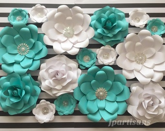 32be962147 Teal blue white paper flowers rose/bridal shower baby shower wedding party  birthday anniversary wall decor/silver parts pearl By Jpartisans