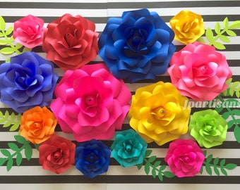 Mexican paper flowers etsy frida kahlo mexican fiesta paper flowers rosesmexican color bridal shower wedding party nursery wall decorpaper leaves by jpartisans mightylinksfo