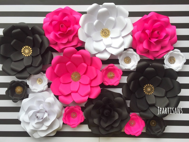 Hot Pink Black White Paper Flowers Rose Wedding Bridal Baby Etsy