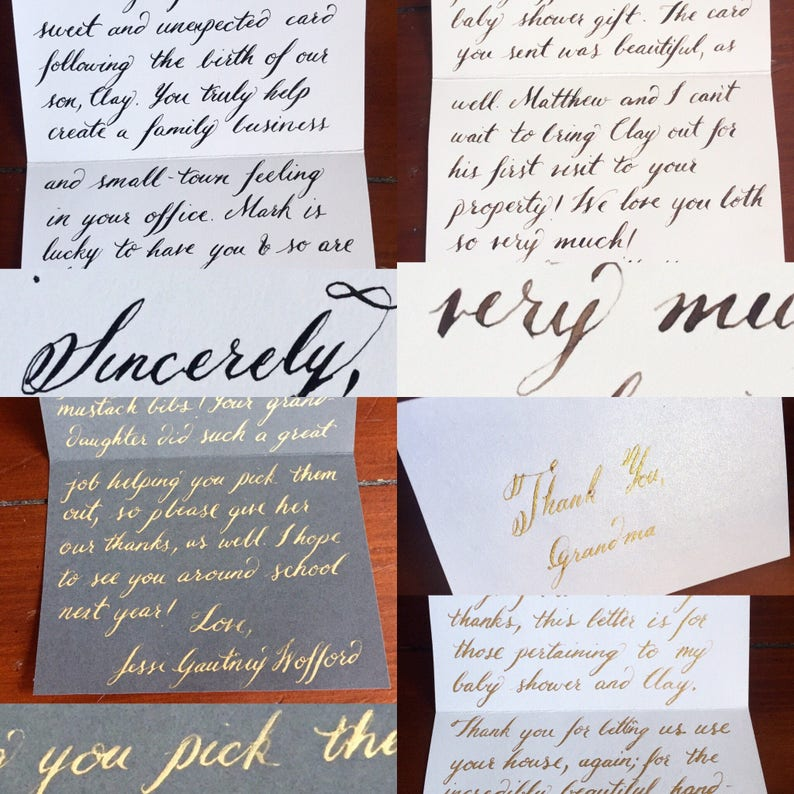 Thank You Note Calligrapher with matching addressed and stamped envelopes