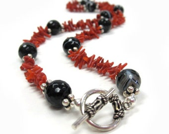 Carly's Coral - Coral and Black Agate Bracelet