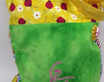 Ballet Bag sewed, stitched with a ballerina, bag for sport, bag for ballet stuff