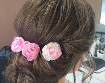 Flower hair pin, Bridesmaid gift, Pink flowers for hair accessory, hair accessory, girl hair flowers, wedding hair flowers, bridal headpiece