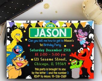 Elmo Invitation, Elmo Invites, Elmo Birthday Invitation, Elmo Birthday, Elmo Birthday Party, Sesame Street Invitation,Sesame Strees Birthday