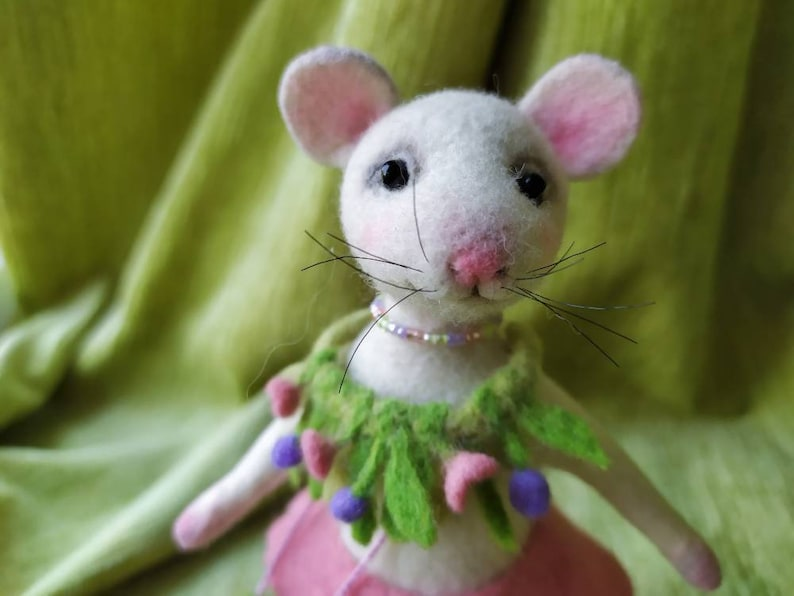 Felted mouse art doll Needle felted animal Cheer up gift Wool felt sculpture