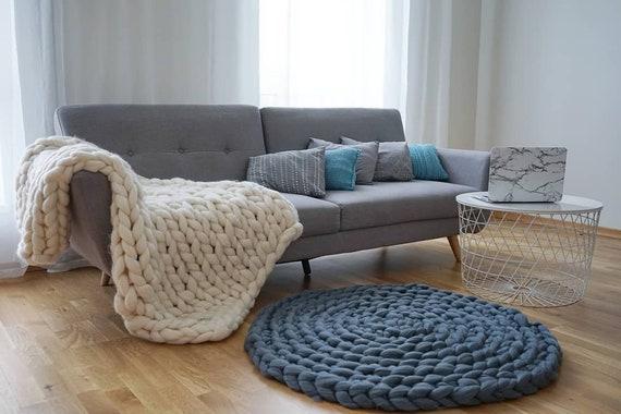 Merino Wool Rug, Chunky Knit Rug, Round Rug, 100% Wool Circle Rug, Bedroom  Rug, Living Room Rug, Chunky Rug, Chunky Knit Carpet