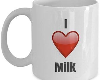 I Love Milk, Milk Mug, Milk Coffee Mug, Milk Gifts, Milk Lover Gift, Funny Coffee mug