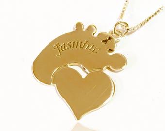 Mom necklace 14k gold footprint mother necklace new mom necklace engraved footprint necklace 14k gold name necklace for mom gift for mom