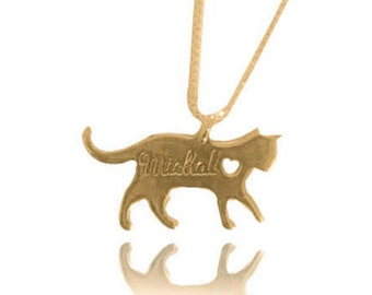 Cat necklace with name cat memorial necklace gold plated cat necklace