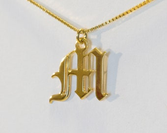 14K Gold Letter M Old English Font Writing