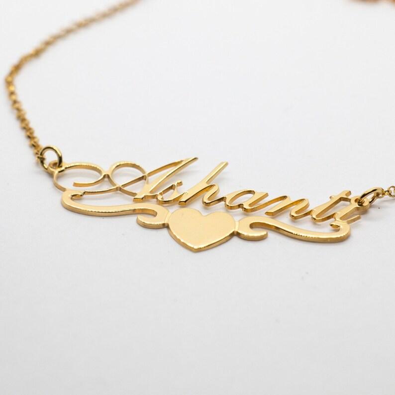 83b8f7e9f Ashanti Gold Plated Personalized Name Necklace Heart Swirl | Etsy