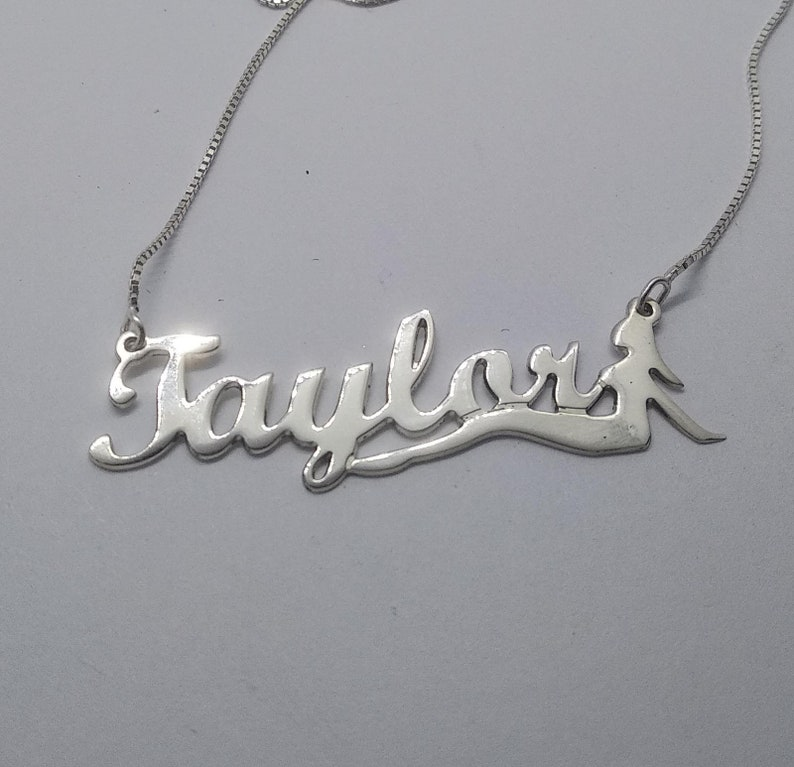 Taylor Personalized Name Necklace Little Mermaid Name Necklace Personalized Any Name Mermaid Necklace Sterling Silver Gift for Her Taylor