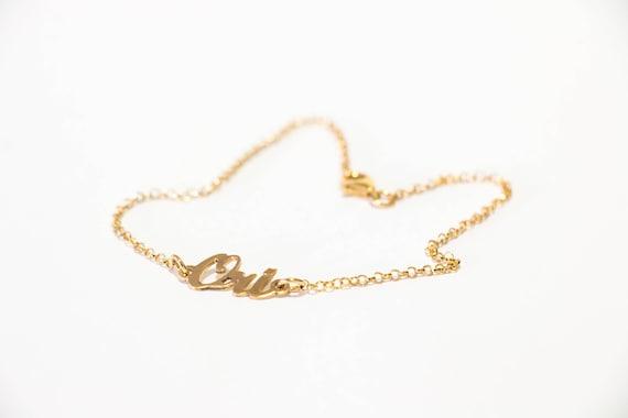 14k Gold Name Bracelet Childrens Name 14k Gold Bracelet Gold Etsy