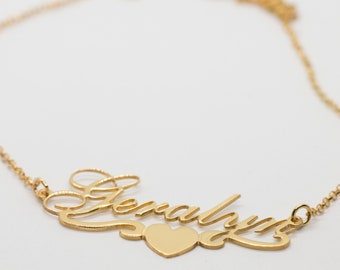 Gold Plated Geralyn Personalized Name Necklace Heart Swirl Any Name Necklace Name Necklace Personalised Name Cursive Name  My Name in Script