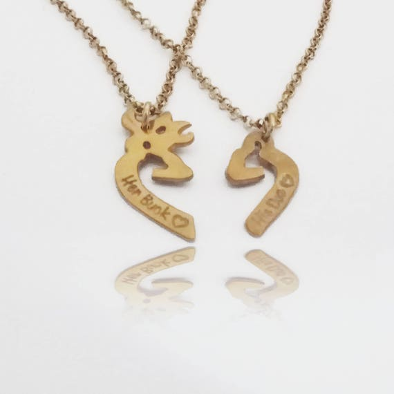 14k Gold Buck And Doe Necklace Browning Necklace Couples Deer Etsy