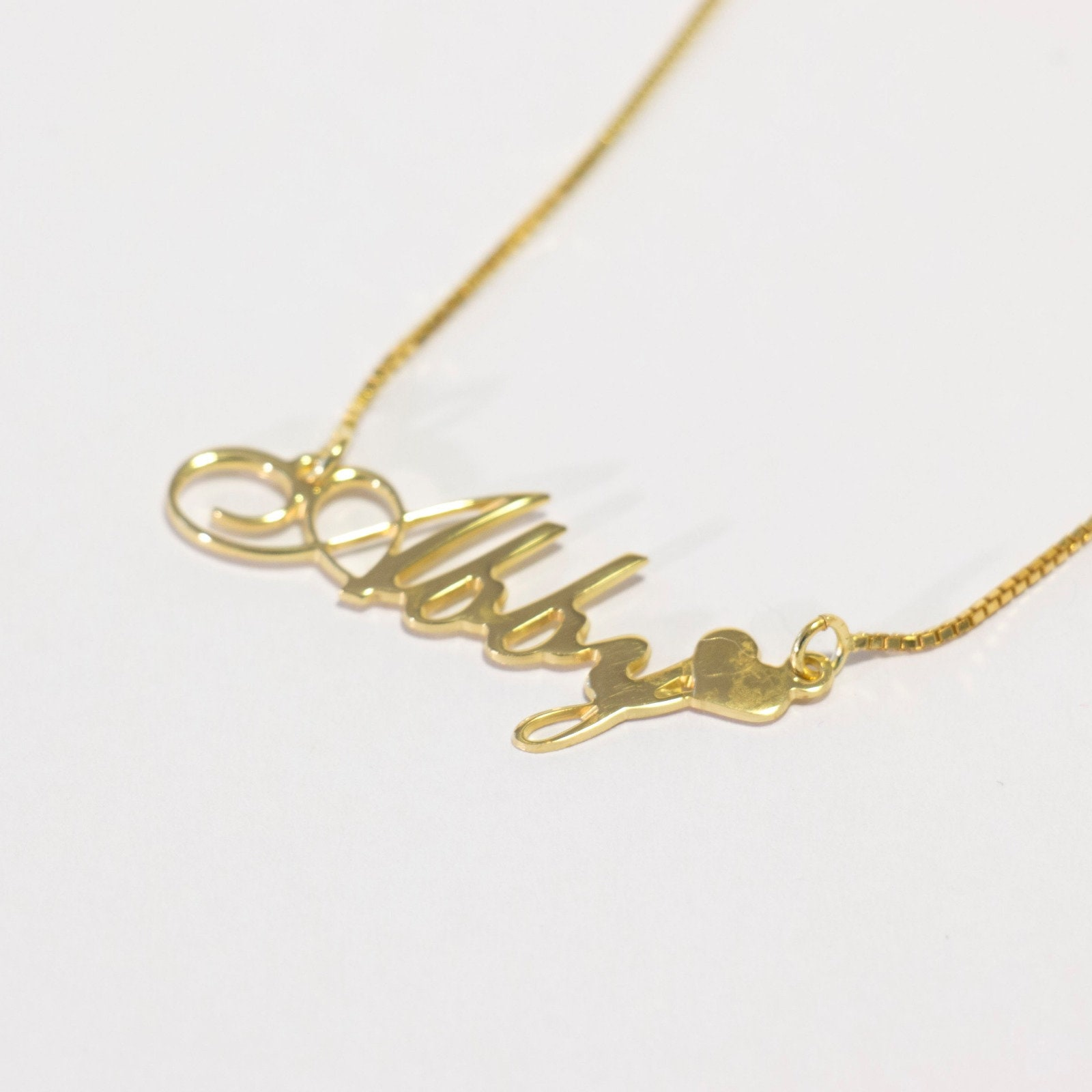 Cursive Name Plate Necklace My Name Jewelry Sterling Silver Name Chain Abigail