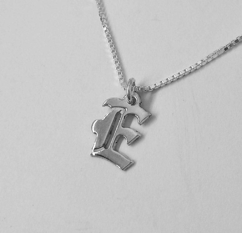 Old English Letter Charm Letter E E initial Pendant in Old English Sterling Silver Necklace Personal Initial Pendant