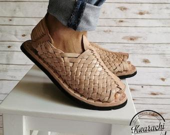 Mexico Huarache for men. tire sole, open tip. handmade men's leather sandal