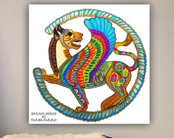 Persian Lion Art Contemporary Artist Stretched Canvas Print Etsy