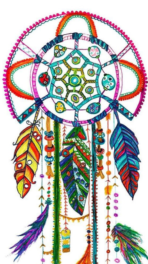 Native American Dream Catcher Abstract Art Painting Framed Canvas Print Colorful Wall Hanging Bohemian Tribal Home Decor Shamanic Art
