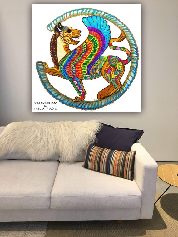 Colorful Persian Art Persepolis Winged Lion Painting Rolled Etsy