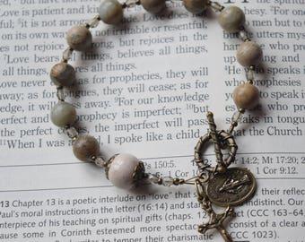 Adult Rosary Bracelet -- Aqua Terra Jasper