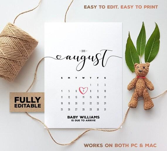 august 2019 editable calendar