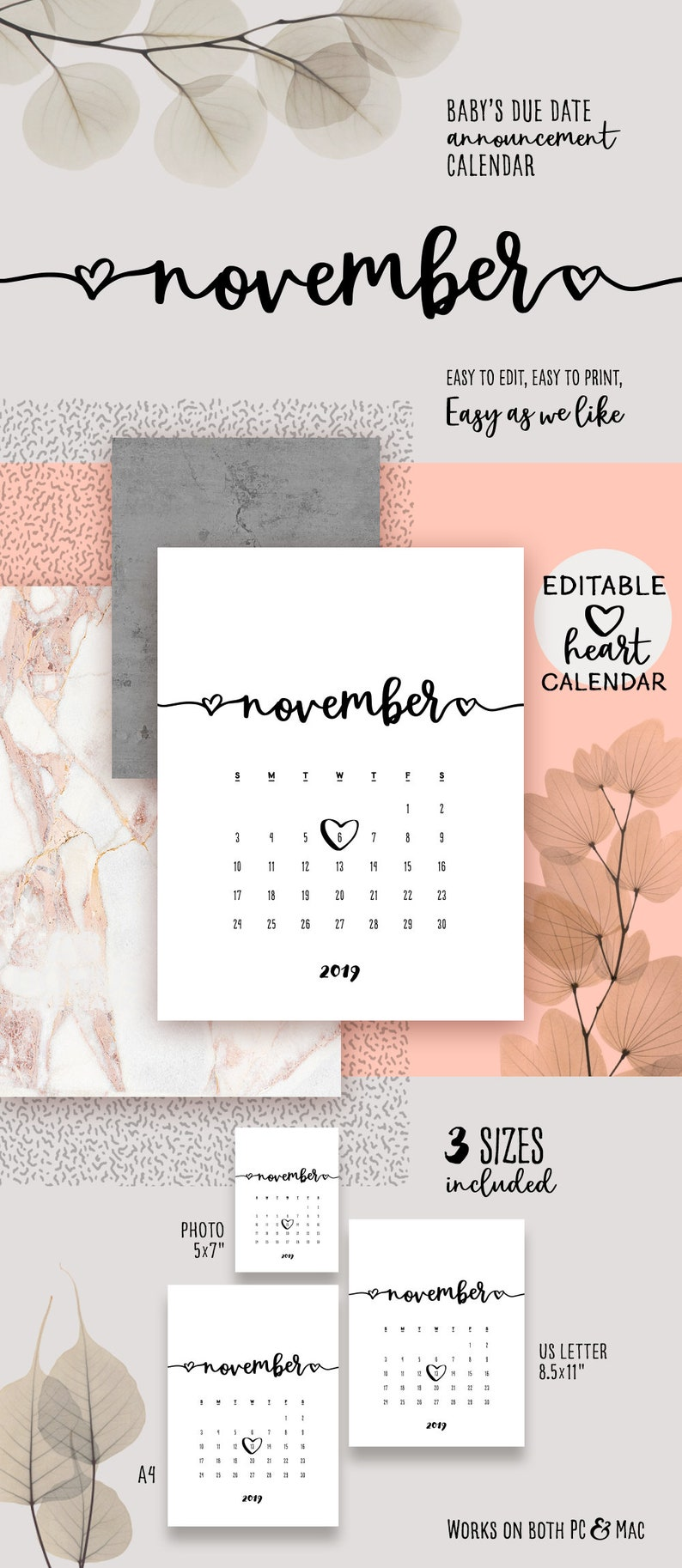 picture about Printable Pregnancy Calendar identify NOVEMBER 2019 Printable Being pregnant Calendar Gorgeous Boy or girl Owing Day Announcement Calendar PDF Describe Little one Announce Birthday Printable Calendar