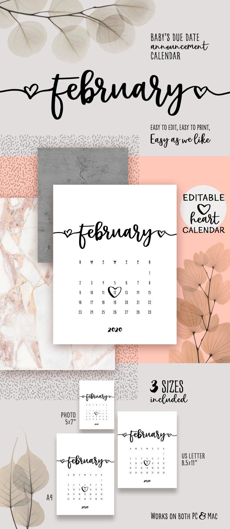 February Monogram Calendar 2020 FEBRUARY 2020 Printable Pregnancy Calendar Lovely Baby Due | Etsy