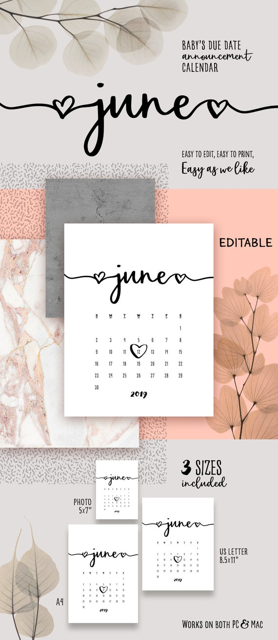 June 2019 Printable Pregnancy Calendar Template Lovely Baby Due Date Announcement Pregnancy Calendar Pdf Baby Announce Diy Editable Calendar