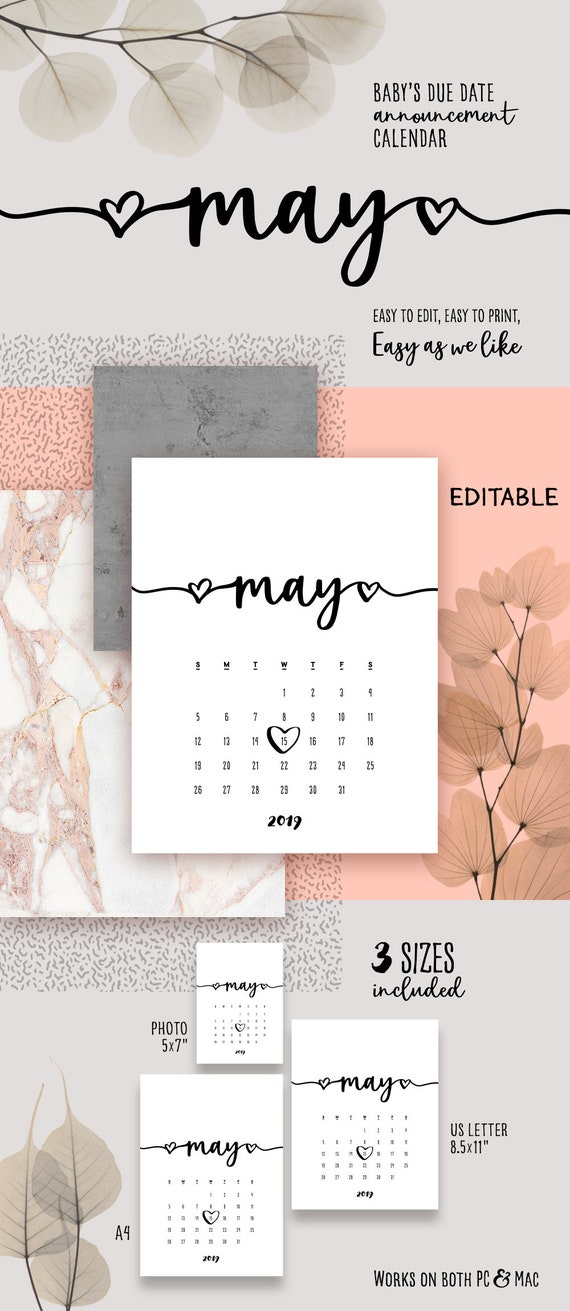 May 2019 Printable Calendar Template Pdf Lovely Baby Due Date Etsy
