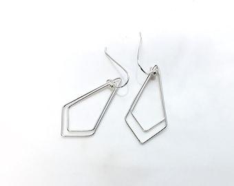 488149324 Silver Boho Earrings, The Kite Earrings, Sterling Silver Earrings, Abstract  Earrings, Statement Earrings, Geometric Dangle Earrings