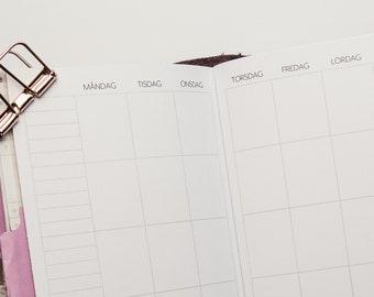 TN MO2P Odaterad | En månad per uppslag | POCKET/Field Notes TN svenska | Kalenderinlaga till Traveler's Notebooks