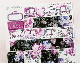 A5 Black Floral || A5 Weekly Planner Kit || Fits JenWebDesigns A5 Vertical Inserts