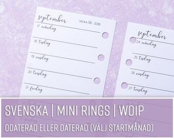 SV WO1P | En vecka per sida/Horisontell | MINI Rings svenska | Kalenderinlaga till Filofax, Kikki K och andra ringbundna planners