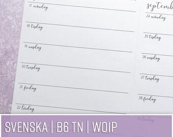 TN SV WO1P | En vecka per sida/Horisontell | B6 TN svenska | Kalenderinlaga till Traveler's Notebooks