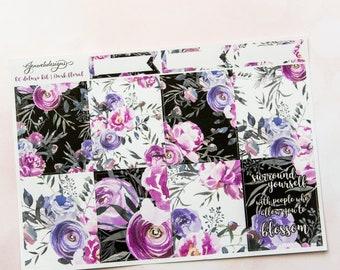 ECLP Black Floral || Deluxe Weekly Planner Kit || ECLP Vertical