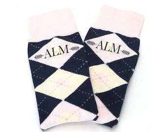 9f5a8659fc6e Blush Petal Pink Navy Argyle Custom Monogrammed Wedding Socks for Groomsmen,  Groom, Ushers, Fathers