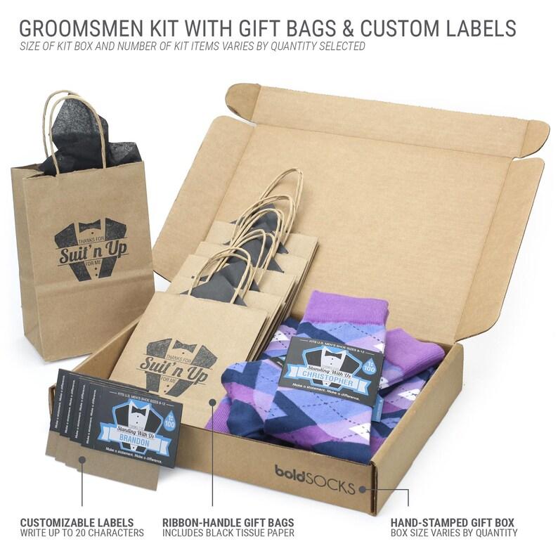 Fathers Ushers Groom Customizable Purples Blue Argyle Wedding Socks Groomsmen Sock Kit for Groomsmen