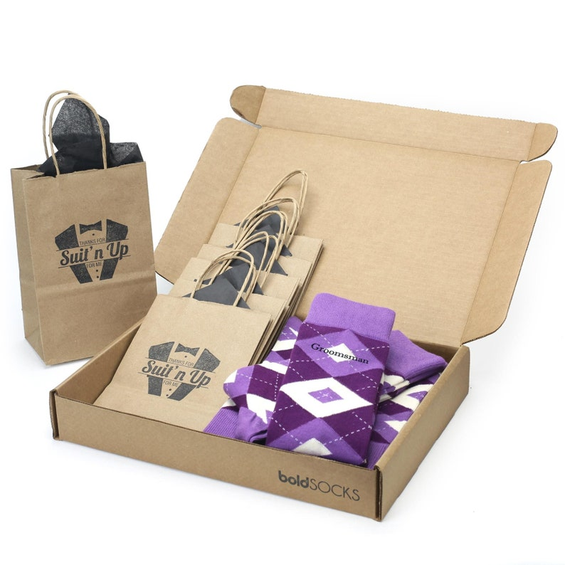 Groomsmen Sock Kit for Groomsmen Ushers Groom Custom Print Wisteria Plum Purple Argyle Wedding Socks Fathers