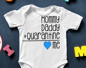 Mommy plus daddy Quarantined Pregnancy Announcement Onesie Baby reveal photo prop custom pandemic design Quarantine
