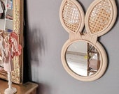 Handmade rattan rabbit mirror, wall decoration for children 39 s bedroom