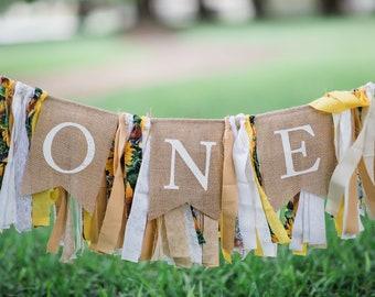 ONE HighChair Sunflower Fabric Banner First Birthday