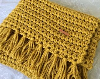 Handmade, Chunky Blanket, Throw, Bed runner, Mustard, Gold, Crochet