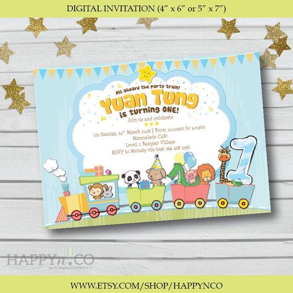 DIGITAL Animal Train Birthday Invitation Animals And Trains