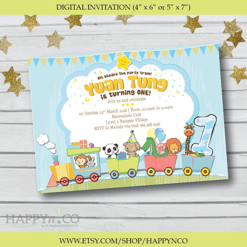 DIGITAL Animal Train Birthday Invitation Animals And Trains