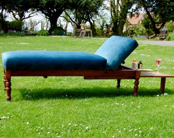 Beautiful Rare Antique Victorian Pitch Pine Sun Lounger Sofa Chaise Day Bed with pull out tray