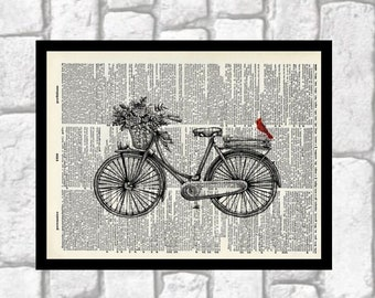 Vintage Bike with Red Cardinal Illustration ~ Old Fashioned Bicycle with  flower basket and bird ~ Cardinal art ~ 8x10 Dictionary Art Print 7cc12ff1d